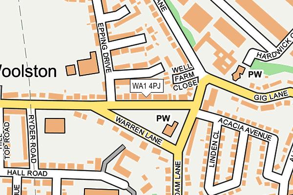 WA1 4PJ map - OS OpenMap – Local (Ordnance Survey)