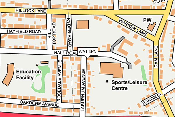 WA1 4PN map - OS OpenMap – Local (Ordnance Survey)
