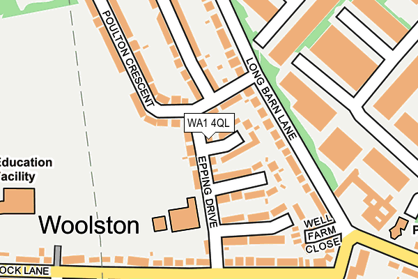 WA1 4QL map - OS OpenMap – Local (Ordnance Survey)