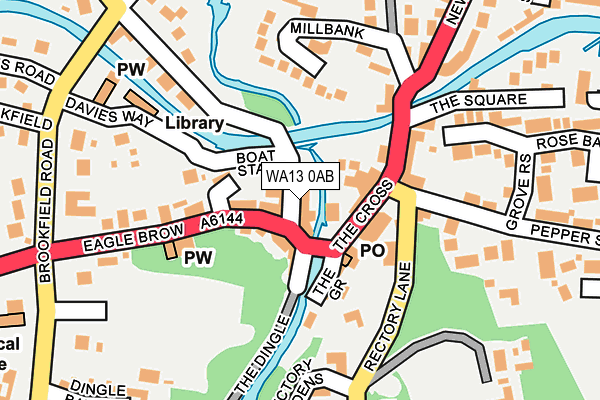 WA13 0AB map - OS OpenMap – Local (Ordnance Survey)