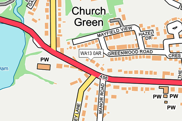 WA13 0AR map - OS OpenMap – Local (Ordnance Survey)