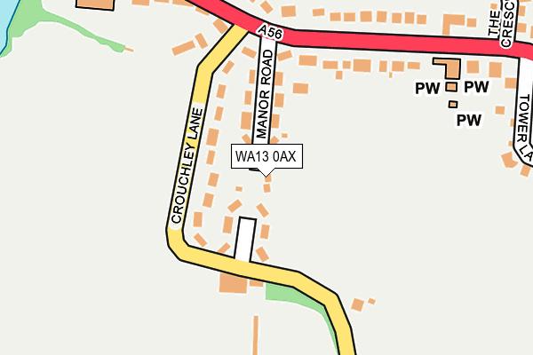 WA13 0AX map - OS OpenMap – Local (Ordnance Survey)
