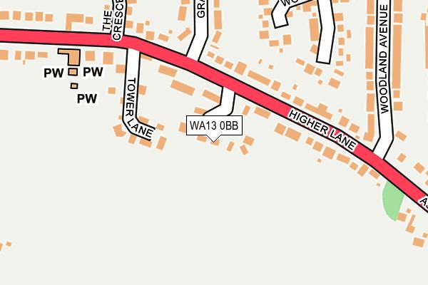 WA13 0BB map - OS OpenMap – Local (Ordnance Survey)