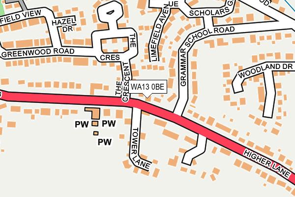 WA13 0BE map - OS OpenMap – Local (Ordnance Survey)