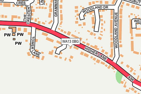 WA13 0BG map - OS OpenMap – Local (Ordnance Survey)