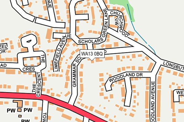 WA13 0BQ map - OS OpenMap – Local (Ordnance Survey)