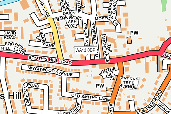 WA13 0DP map - OS OpenMap – Local (Ordnance Survey)