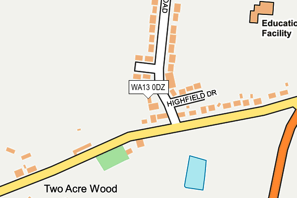 WA13 0DZ map - OS OpenMap – Local (Ordnance Survey)