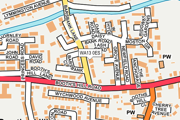 WA13 0ES map - OS OpenMap – Local (Ordnance Survey)