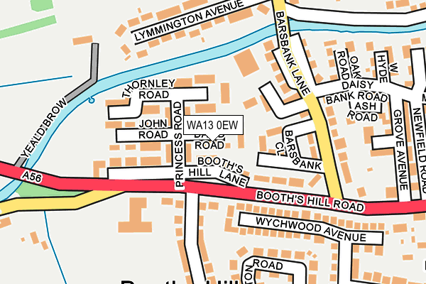 WA13 0EW map - OS OpenMap – Local (Ordnance Survey)