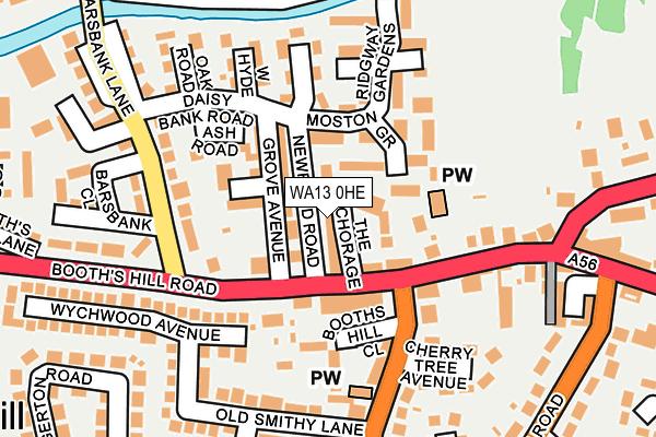 WA13 0HE map - OS OpenMap – Local (Ordnance Survey)