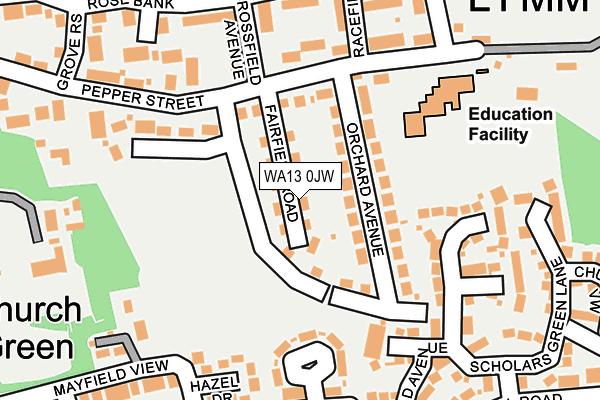 WA13 0JW map - OS OpenMap – Local (Ordnance Survey)