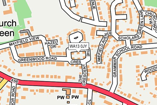 WA13 0JY map - OS OpenMap – Local (Ordnance Survey)