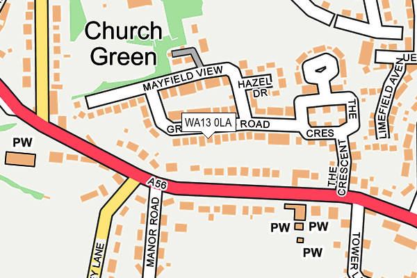 WA13 0LA map - OS OpenMap – Local (Ordnance Survey)
