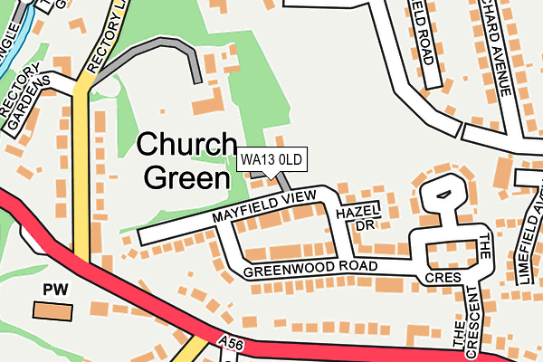 WA13 0LD map - OS OpenMap – Local (Ordnance Survey)