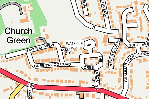 WA13 0LE map - OS OpenMap – Local (Ordnance Survey)