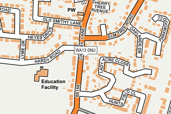 WA13 0NU map - OS OpenMap – Local (Ordnance Survey)