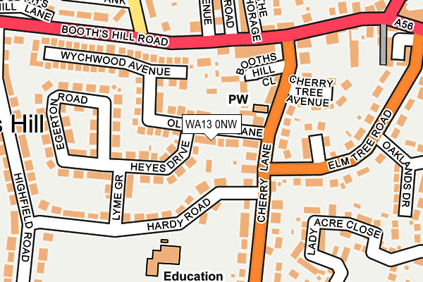 WA13 0NW map - OS OpenMap – Local (Ordnance Survey)