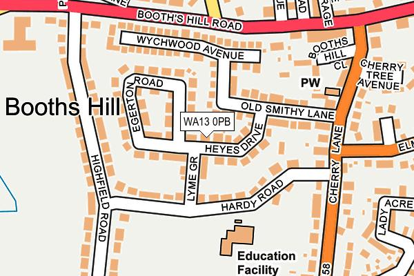 WA13 0PB map - OS OpenMap – Local (Ordnance Survey)