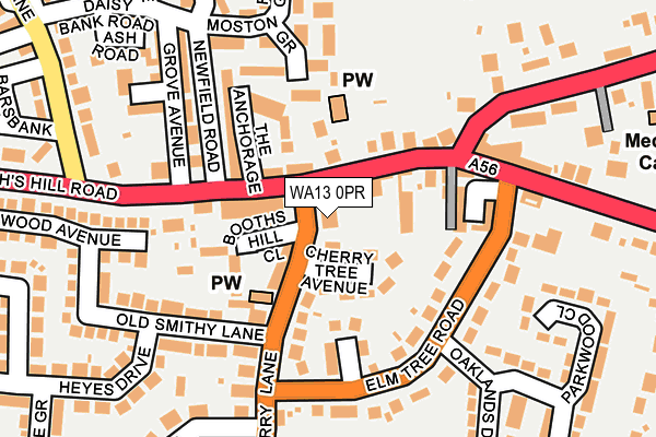 WA13 0PR map - OS OpenMap – Local (Ordnance Survey)