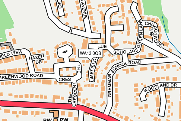 WA13 0QB map - OS OpenMap – Local (Ordnance Survey)
