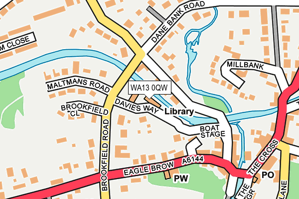 WA13 0QW map - OS OpenMap – Local (Ordnance Survey)