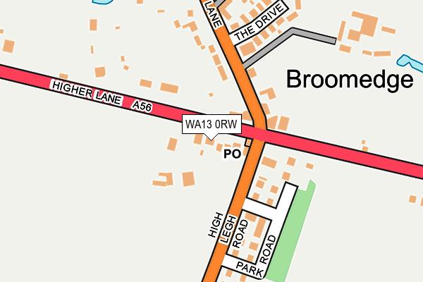 WA13 0RW map - OS OpenMap – Local (Ordnance Survey)