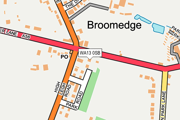 WA13 0SB map - OS OpenMap – Local (Ordnance Survey)