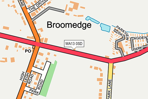 WA13 0SD map - OS OpenMap – Local (Ordnance Survey)