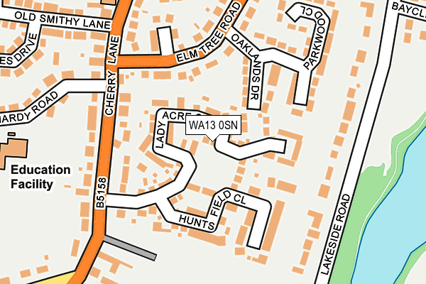 WA13 0SN map - OS OpenMap – Local (Ordnance Survey)