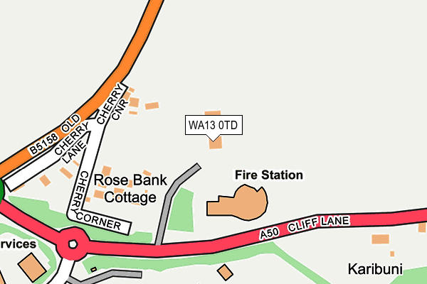 WA13 0TD map - OS OpenMap – Local (Ordnance Survey)