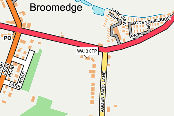 WA13 0TP map - OS OpenMap – Local (Ordnance Survey)