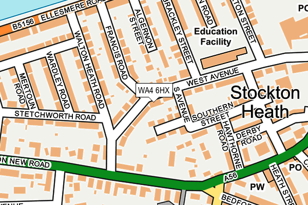 WA4 6HX map - OS OpenMap – Local (Ordnance Survey)