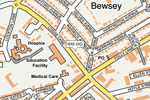 WA5 0AG map - OS OpenMap – Local (Ordnance Survey)