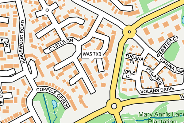 WA5 7XB map - OS OpenMap – Local (Ordnance Survey)
