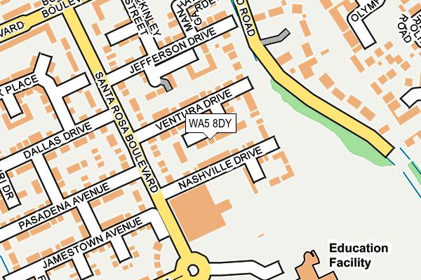 WA5 8DY map - OS OpenMap – Local (Ordnance Survey)