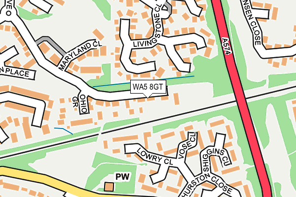 WA5 8GT map - OS OpenMap – Local (Ordnance Survey)