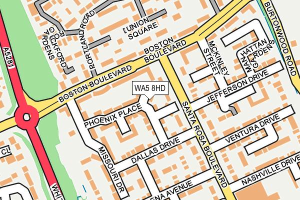 WA5 8HD map - OS OpenMap – Local (Ordnance Survey)