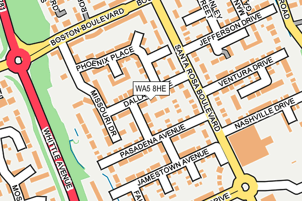 WA5 8HE map - OS OpenMap – Local (Ordnance Survey)