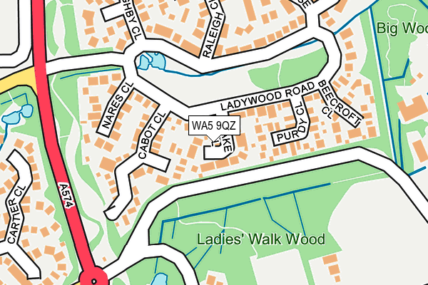 WA5 9QZ map - OS OpenMap – Local (Ordnance Survey)
