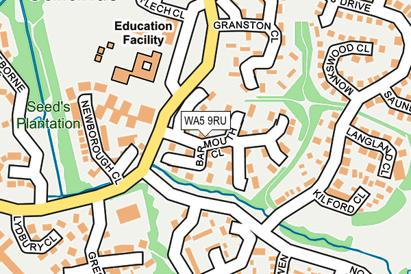 WA5 9RU map - OS OpenMap – Local (Ordnance Survey)