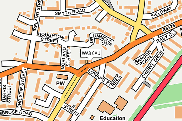WA8 0AU map - OS OpenMap – Local (Ordnance Survey)