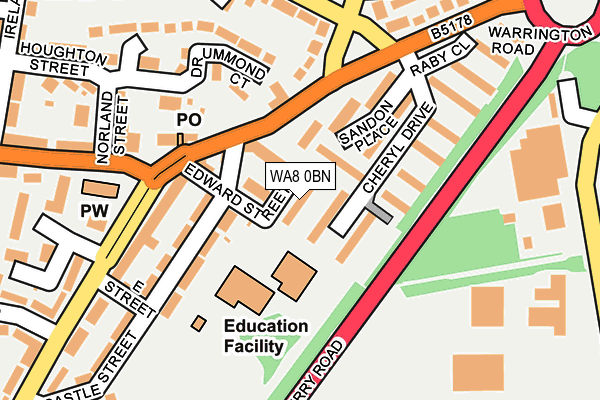 WA8 0BN map - OS OpenMap – Local (Ordnance Survey)