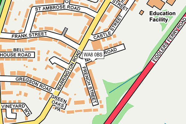 WA8 0BS map - OS OpenMap – Local (Ordnance Survey)