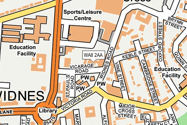 WA8 2AA map - OS OpenMap – Local (Ordnance Survey)