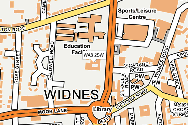 WA8 2SW map - OS OpenMap – Local (Ordnance Survey)