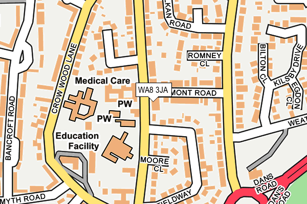 WA8 3JA map - OS OpenMap – Local (Ordnance Survey)