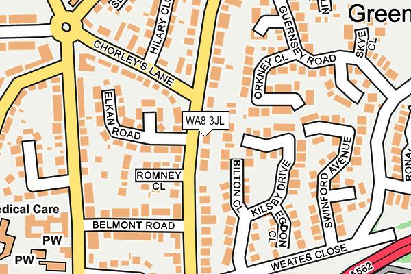 WA8 3JL map - OS OpenMap – Local (Ordnance Survey)