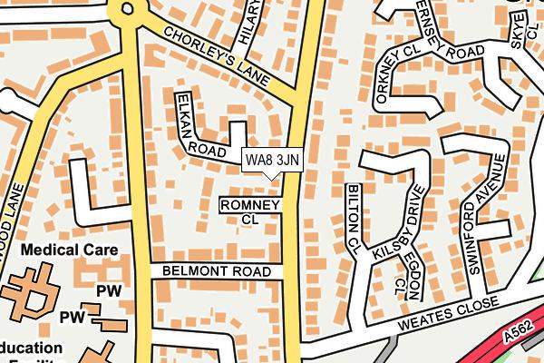 WA8 3JN map - OS OpenMap – Local (Ordnance Survey)