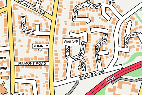 WA8 3YB map - OS OpenMap – Local (Ordnance Survey)